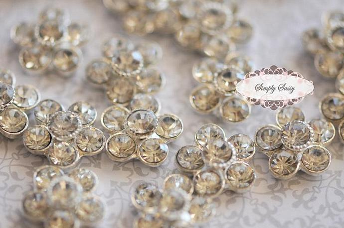 20 pcs 14mm RD119 Clear Silver Rhinestone Embellishment Flatback Crystal flowers