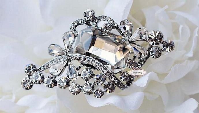 50pcs Large STUNNING Clear Rhinestone Brooches for Wedding Bridal Jewelry