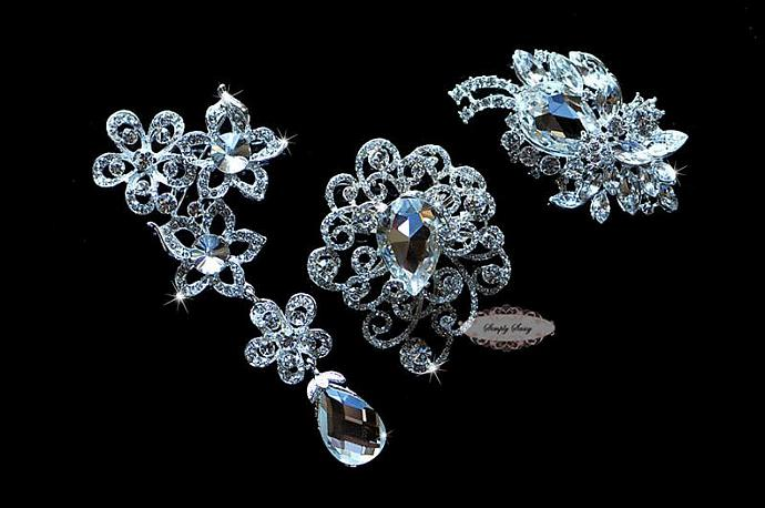 Large Rhinestone Brooch Set - Wedding Rhinestone Brooches - Rhinestone Brooch