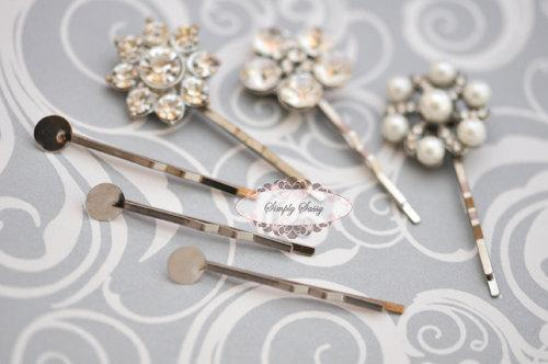 50 pcs 45mm Iron Silver Plated Hair Pin 8mm Blanks with pads wedding bridal hair