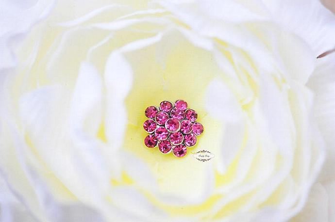 Rhinestone Metal Flatback Embellishment Button Hot PINK 20pcs RD64 Crystal DIY