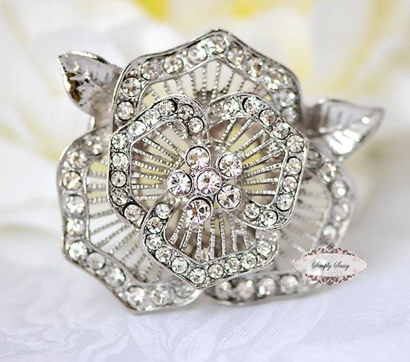 4pcs Rhinestone Brooches Pins Clear Crystal Bridal Wedding Jewelry Brooch Pin