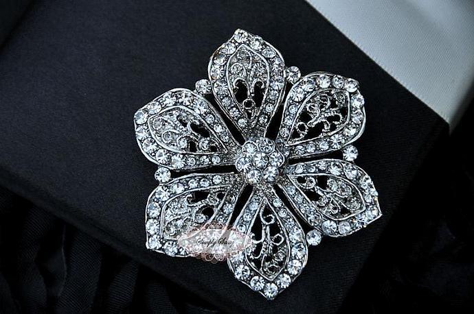 RD234 Crystal Glass Rhinestone Gorgeous Rhinestone Brooch Wedding Bridal