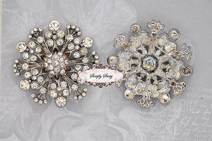 RD190 Brooch Pin Rhinestone Crystal Metal Flatback Embellishment Button wedding