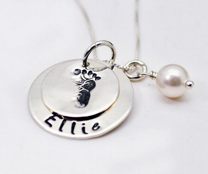 Baby Footprint New Mommy Necklace, Hand Stamped, Personalized Necklace, Gift,