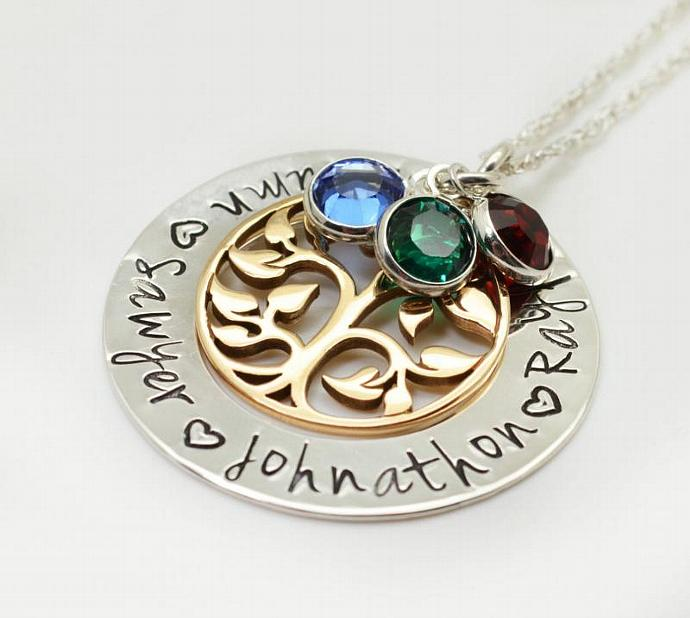 Tree of Life Necklace, Family Circle Necklace, Gift for Grandmother