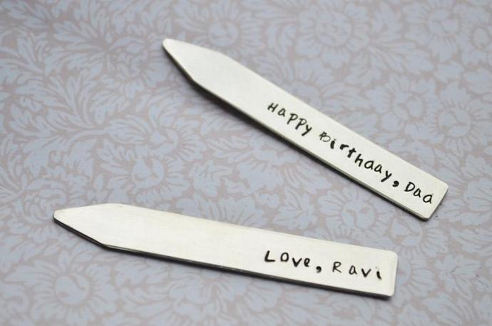 Collar Stays Personalized, Sterling Silver, Hand Stamped ,Fathers Day, Wedding,