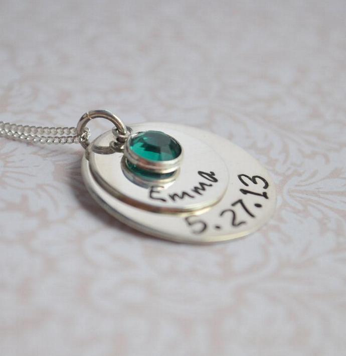Personalized New Mom Necklace, Hand Stamped, Baby Name and Birthday, Gift for