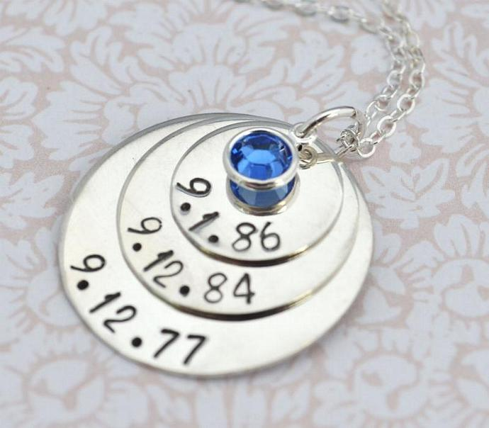 Personalized Mommy Birthstone Jewelry - Hand Stamped Necklace - Handstamped