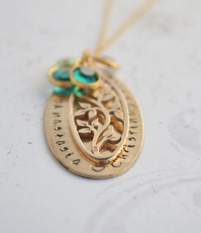 Gold And Bronze Personalized Family Tree Necklace, Gift for Mother Grandmother,