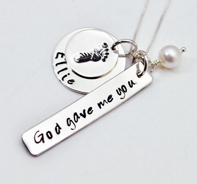 God Gave Me You Baby Footprint New Mommy Necklace, Hand Stamped, Personalized