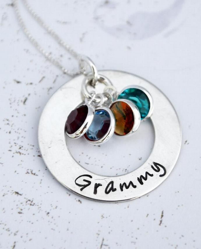 Personalized Grandma Necklace, Hand Stamped Nana Necklace, Mothers Necklace,