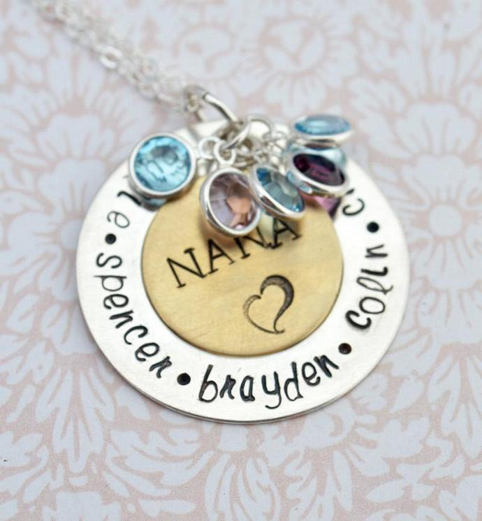 Nana Pendant with Birthstones, Family Necklace, Personalized Jewelry,Mothers Day