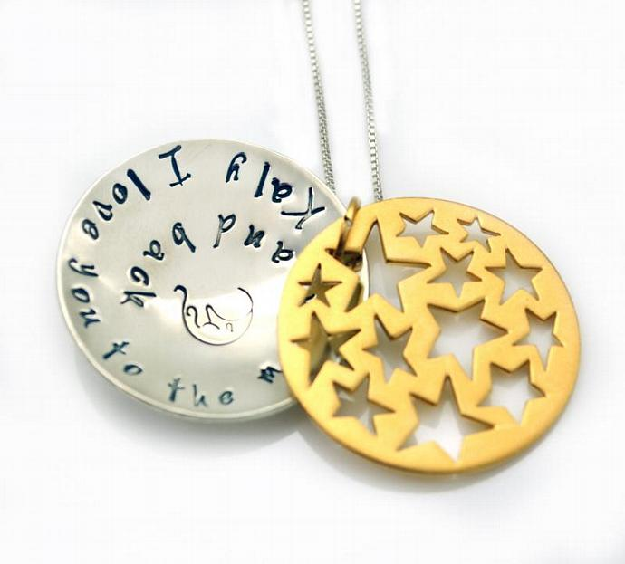 I Love You To The Moon and Back, Personalized Necklace, Hand Stamped Necklace,