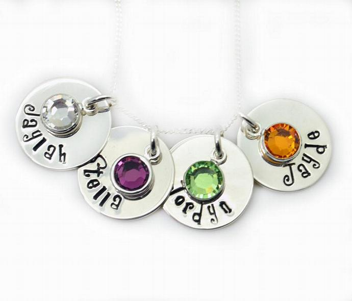 Personalized Birthstone Necklace, Hand Stamped, Kids Names, Childrens Names