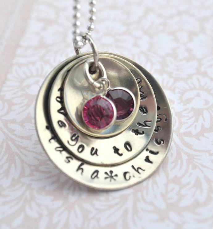 Personalized Mommy Necklace, I Love You To The Moon Three Discs Hand Stamped