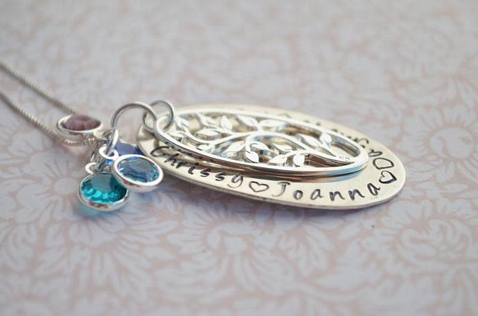 Tree of Life Personalized Necklace, Gift, Sterling Silver, Brass, Family Tree