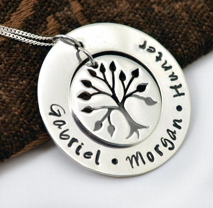 Personalized Necklace, Handstamped Family Tree Necklace, Personalized Gift,