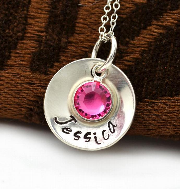 Personalized Birthstone Necklace, Hand Stamped, Name Necklace, Gift, Mother,