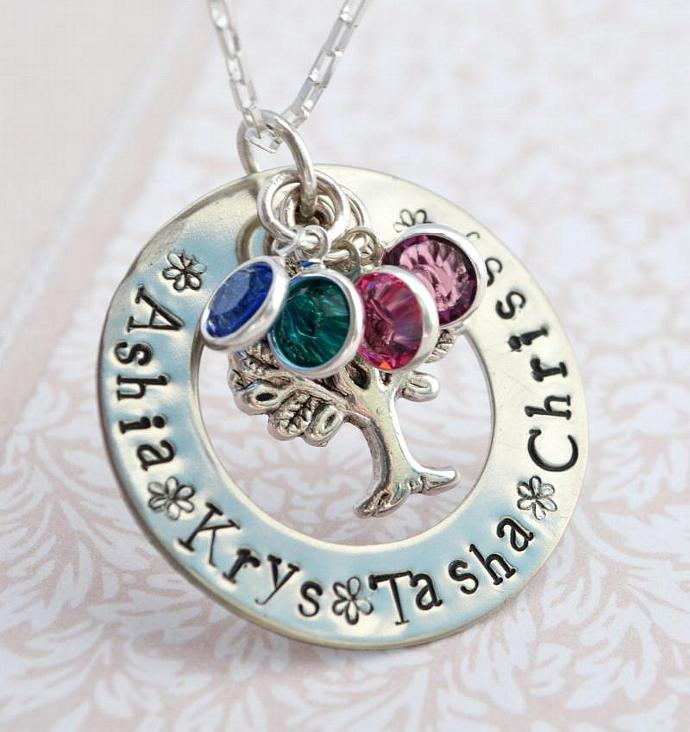 Hand Stamped Family Tree Necklace with Birthstone Charms, Hand Stamped