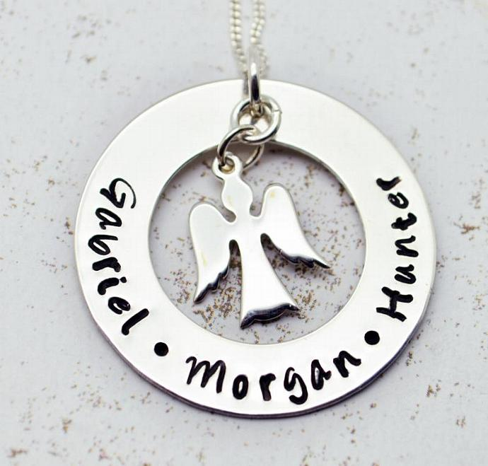 My Little Angels Personalized Family Necklace, Hand Stamped, Mother Jewelry,