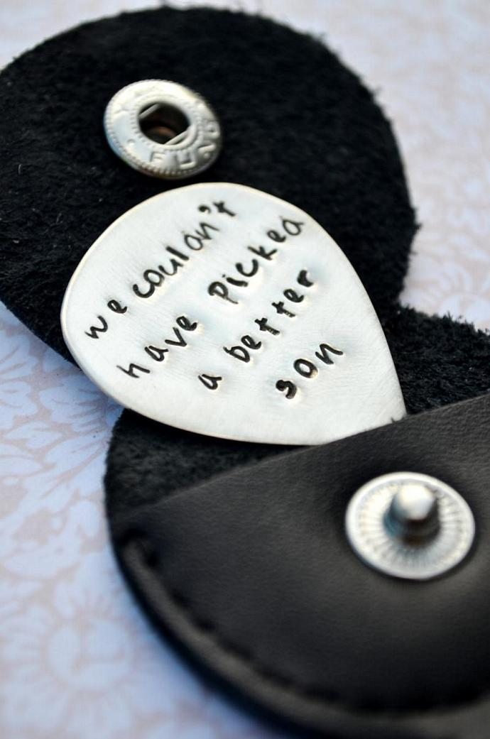 Personalized Sterling Silver Guitar Pick Keychain with Leather Case- Guitar Pick