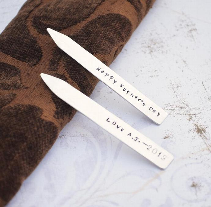 Personalized Collar Stays, Sterling Silver, Hand Stamped ,Fathers Day, Groomsmen