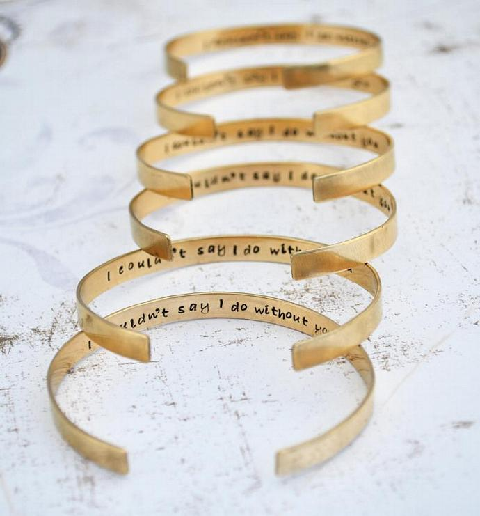 Bridesmaid Gift, 6 Personalized Brass Cuff Bracelets,Hand Stamped, Custom,