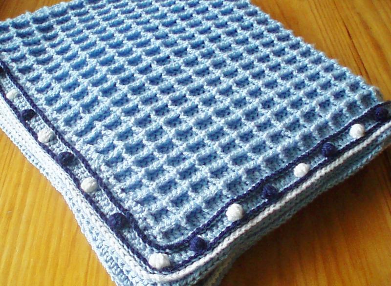 Crochet Pattern for Waffle Weave Baby Blanket FlossiePotts