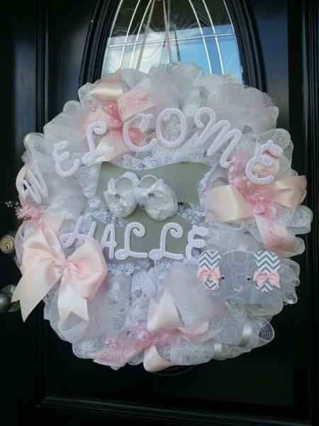 Baby Shower Deco Mesh Wreath By Thecarriageshoppe On Zibbet