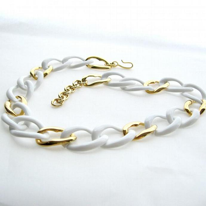 Vintage White Enamel and Gold Tone Large Link Necklace