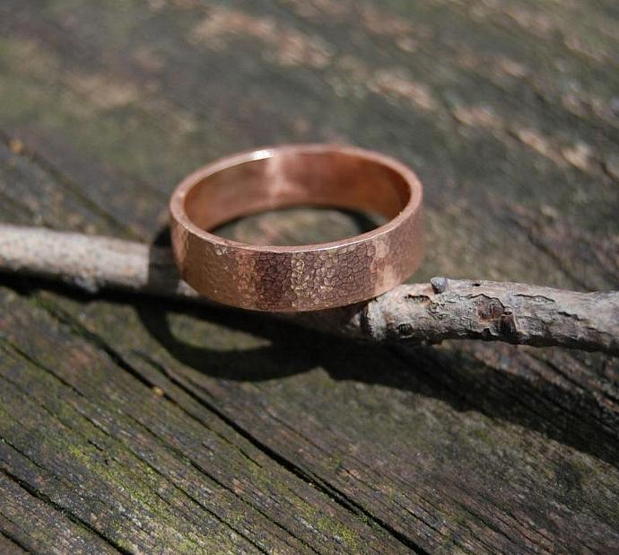 Hammered Rose Gold 5mm Sunny Day Wedding band