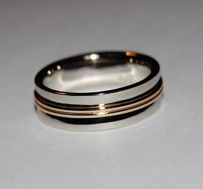 The Pathway Wedding Band in White and Yellow Gold