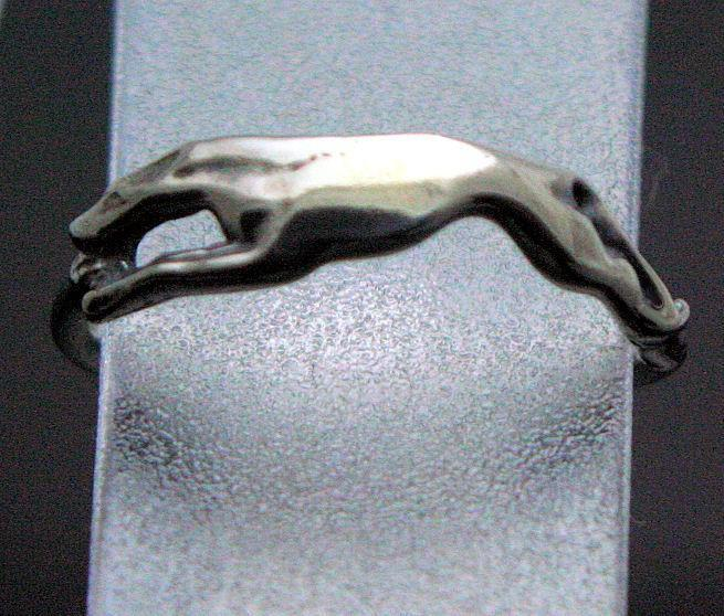 Sterling silver running greyhound ring Size 8