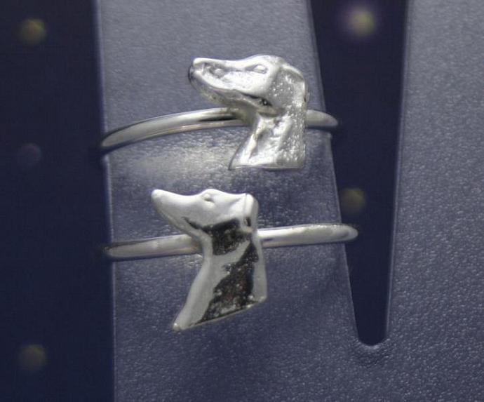 Sterling silver greyhound head ring  size 8 1/2