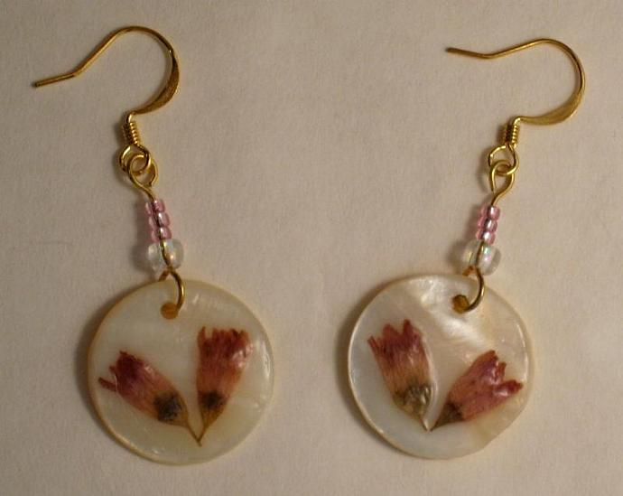 Earrings, Real Pressed Flowers, Pink Flowers White Shell, Short Dangle