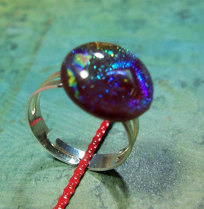Dichroic Glass Adjustable Ring