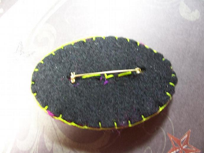 Large Oval Purple and Lime Crocheted Brooch