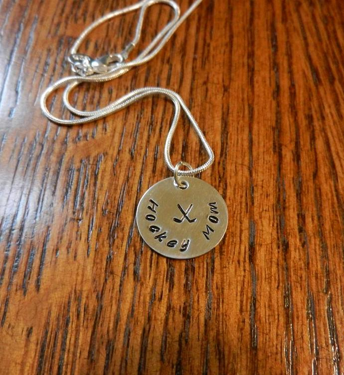 "Hockey Mom - Hand Stamped 3/4"" Sterling Silver Pendant, Hand Stamped Jewelry,"