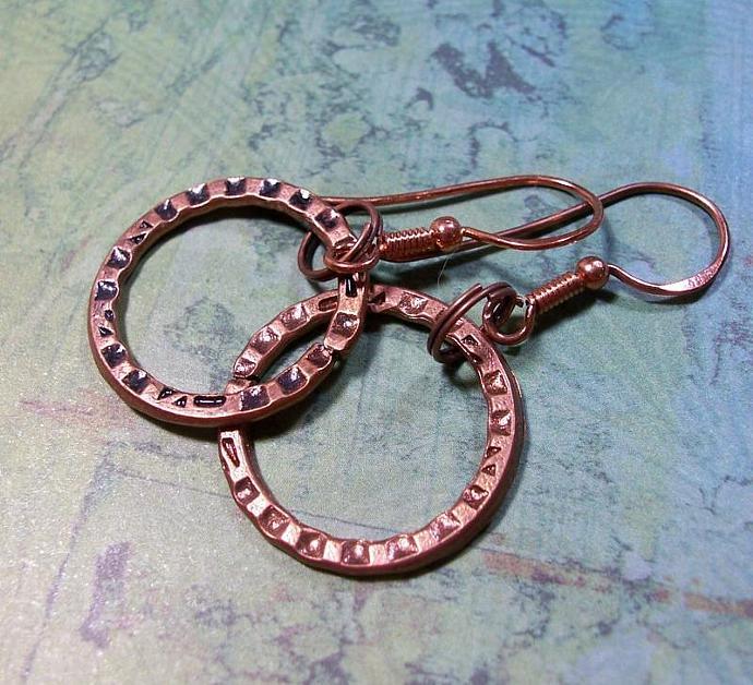 Dangly Copper Hoop Earrings