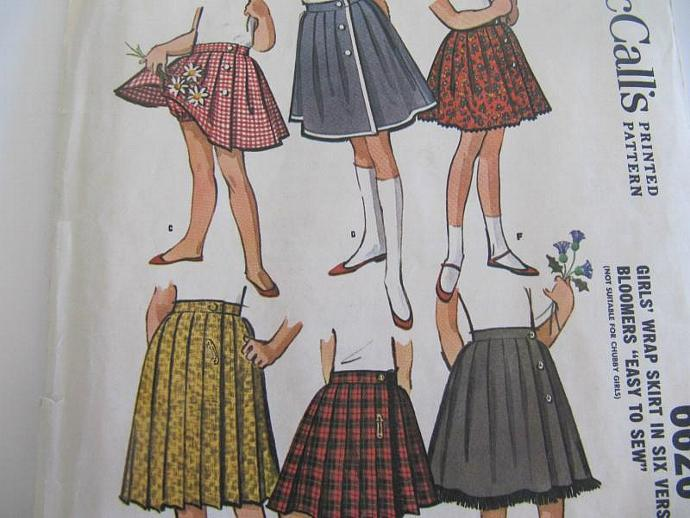 Vintage Girls Wrap Skirt Pattern UnCut