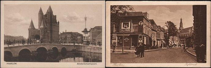 Two vintage postcards of Haarlem in Holland