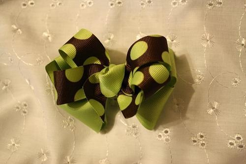 Sage Green and brown hair bow