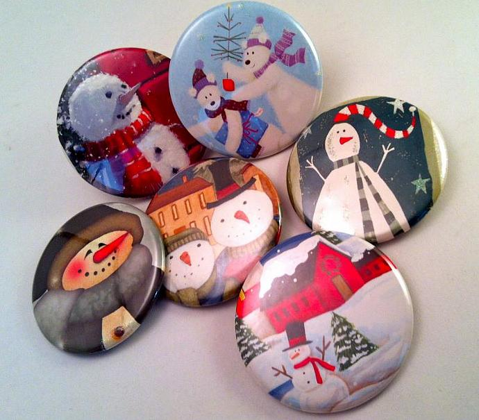 6 Snowmen Pins made with Recycled Christmas Cards  - FREE SHIPPING
