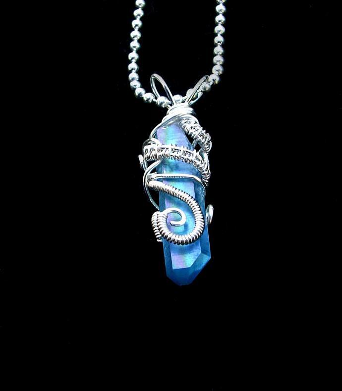 SOLD - Aqua Aura Pendant Necklace - Angel Rainbow Flash Quartz Crystal - Wire
