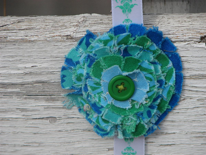 Frayed Flower Hair Clip- Deep Green and Blue