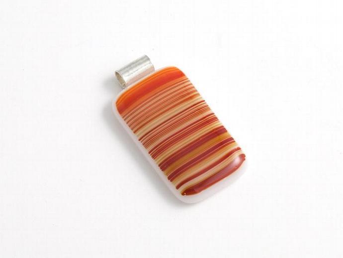 Striped Fused Glass Pendant in Earth tones
