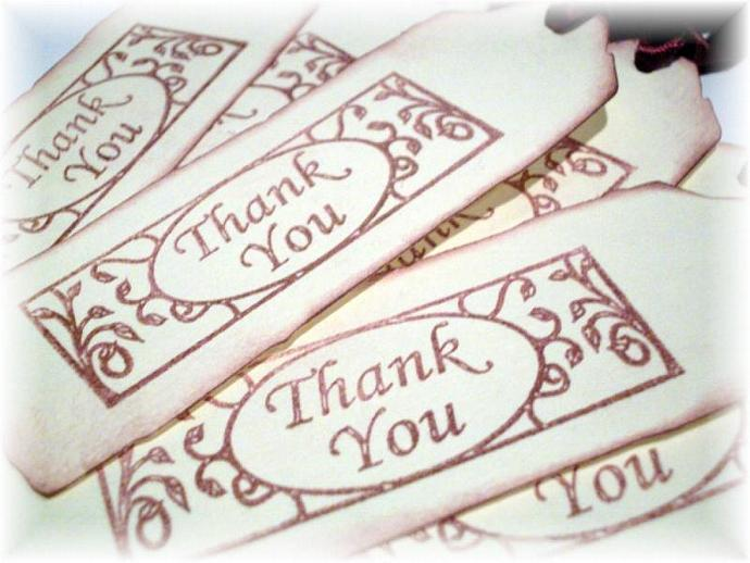 Iron gate Thank You burgundy red TAGS