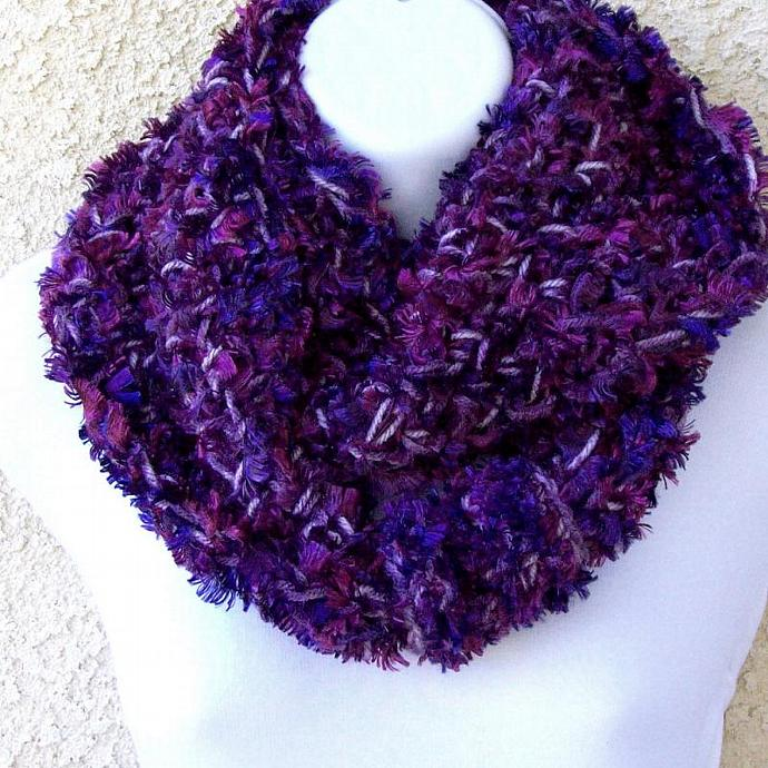 Infinity Scarf, crocheted in Purple Eyelash Yarn