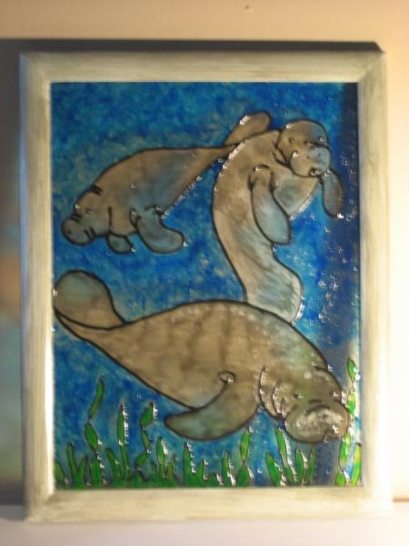 Simulated stained glass FL Manatees underwater framed painted glass art